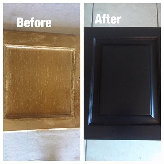 before and after oak painted black - Cabinet Refinishing