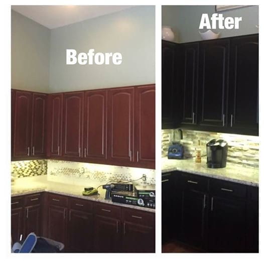 painted black kitchen cabinets before and after cabinet refinishing jaworski painting 24346