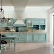 teal base and upper kitchen cabinets cream ceramic tiles teal dining furniture classic pendant chandelier over the dining table white ceramic tiles flooring system modern kitchen colors 2016 1 180x180 - How VR Technology is Changing the Home Design Process