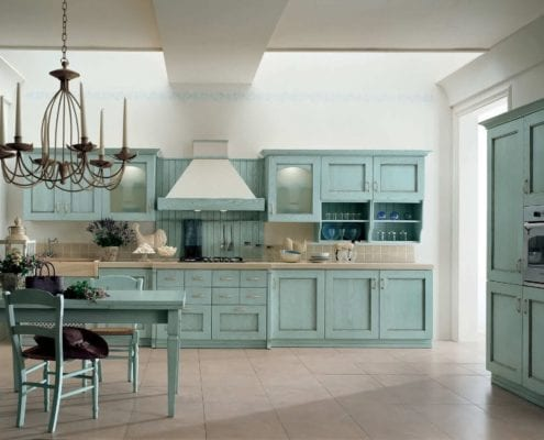 teal base and upper kitchen cabinets cream ceramic tiles teal dining furniture classic pendant chandelier over the dining table white ceramic tiles flooring system modern kitchen colors 2016 1 495x400 - Distressed Kitchen Cabinets