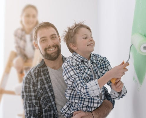 Family Painting House Decorating Remodel Renovate Home Improvement Children 495x400 - Distressed Kitchen Cabinets