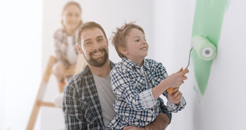 Family Painting House Decorating Remodel Renovate Home Improvement Children 800x423 - 3 Things to Consider Before Painting Your New Home
